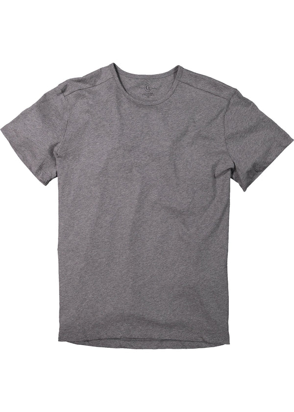 Men's crewneck t-shirt in grey featuring short sleeve and shirt tail hem, longer in the back