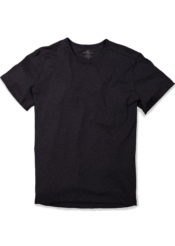 Men's crewneck t-shirt in black featuring short sleeve and shirt tail hem, longer in the back