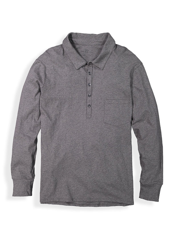 Shop men's pocket polo featuring long sleeves and five button placket front image
