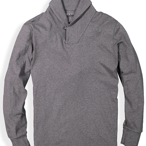 Men's Shawl Collar Long Sleeve shirt in grey