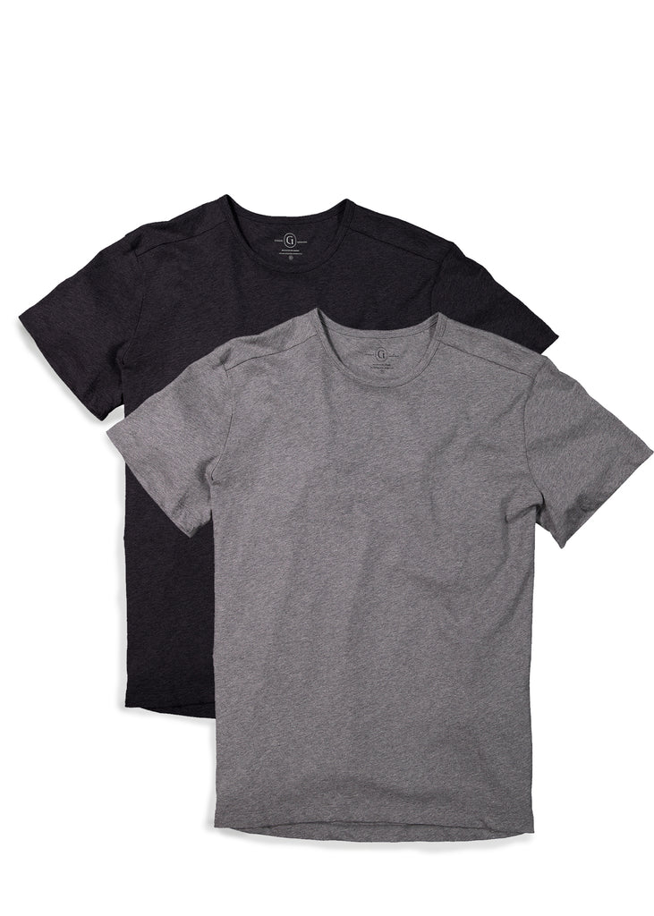 Men's 2 PACK crewneck t-shirt in black featuring short sleeve and shirt tail hem, longer in the back