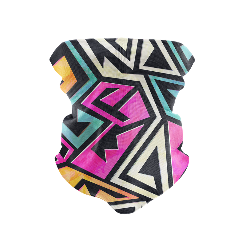 Neon Pastel Graffiti Reusable Neck Gaiter and Face Shield