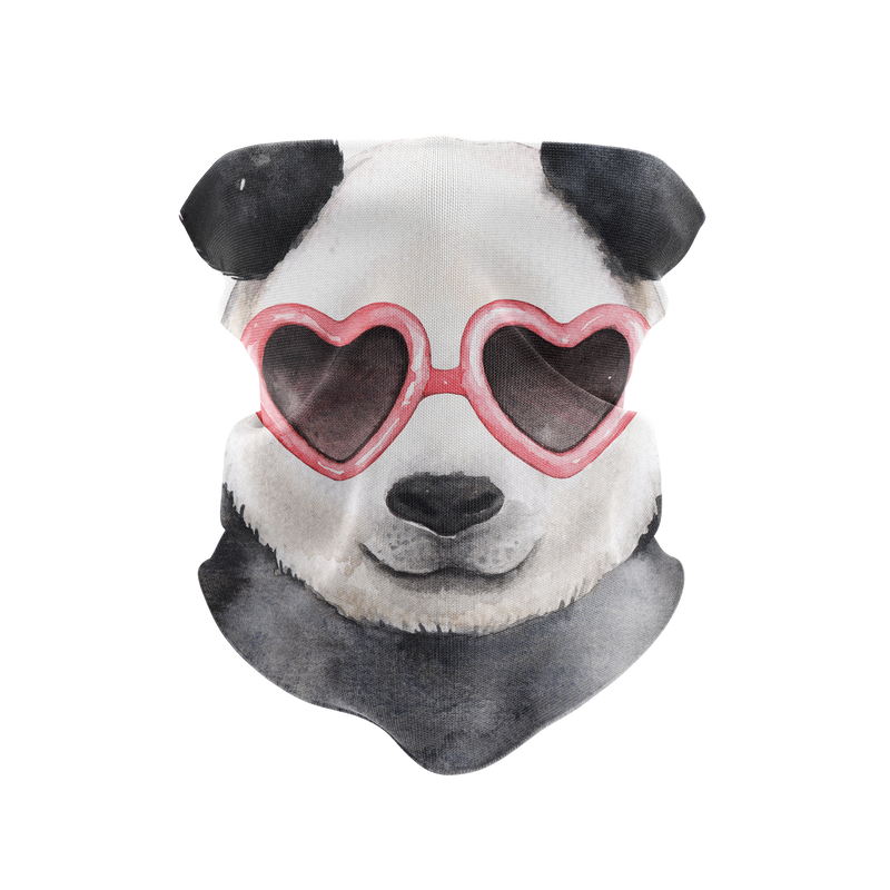 Heart Glasses Panda Reusable Neck Gaiter and Face Shield