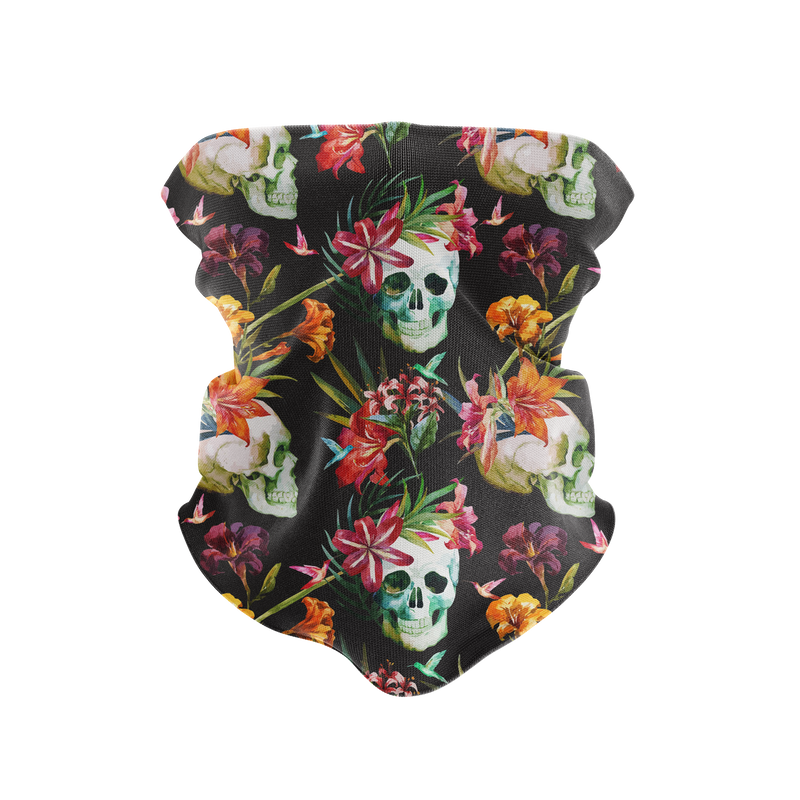 Floral Cementary Reusable Neck Gaiter and Face Shield