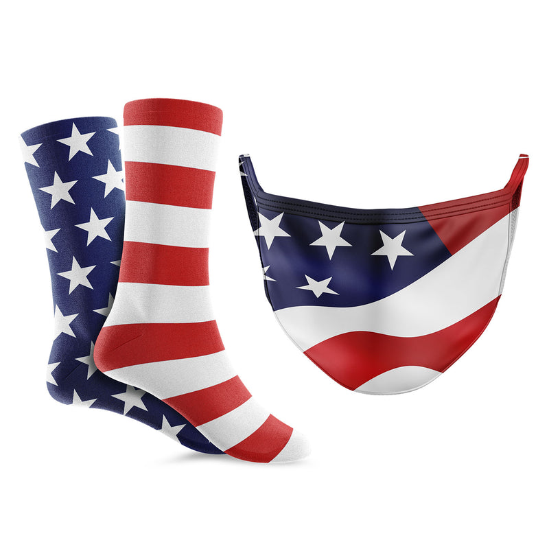American Flag Mask/Sock Bundle - Crew