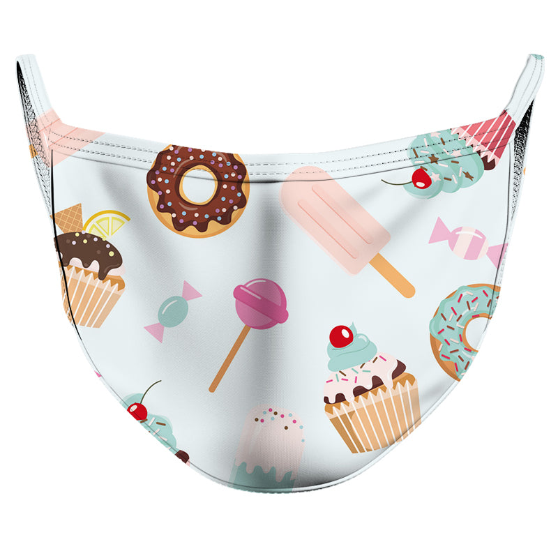 Baby Blue Desserts Reusable Double Layer Cloth Face Mask and Covering
