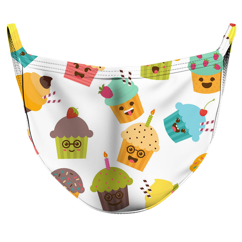 Birthday Cupcakes Reusable Double Layer Cloth Face Mask and Covering