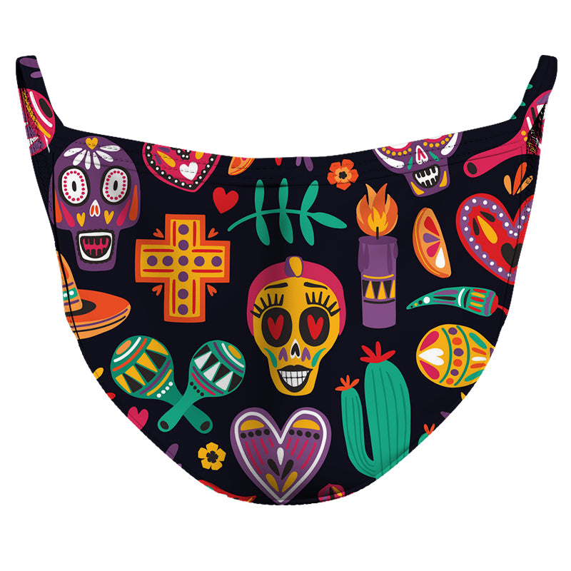 Black Calaveritas Reusable Double Layer Cloth Face Mask and Covering