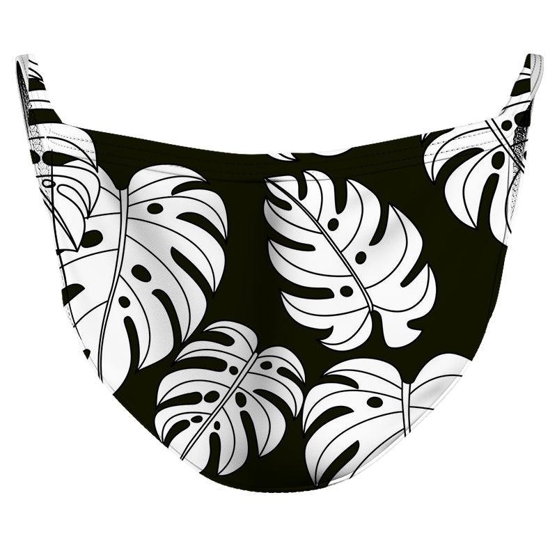 Black & White Leaves Reusable Double Layer Cloth Face Mask and Covering