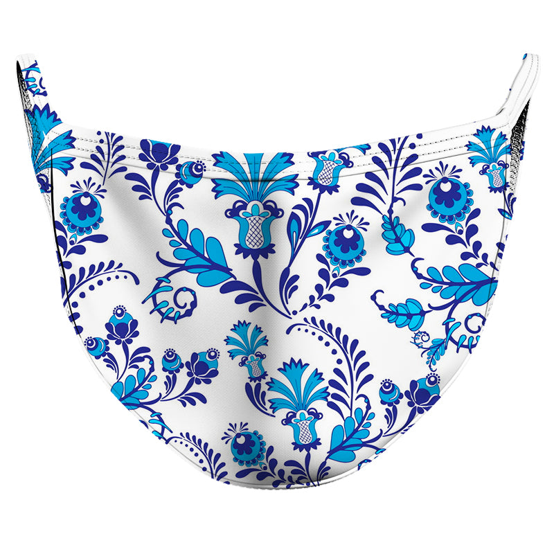 Blue Flower Beauty Reusable Double Layer Cloth Face Mask and Covering