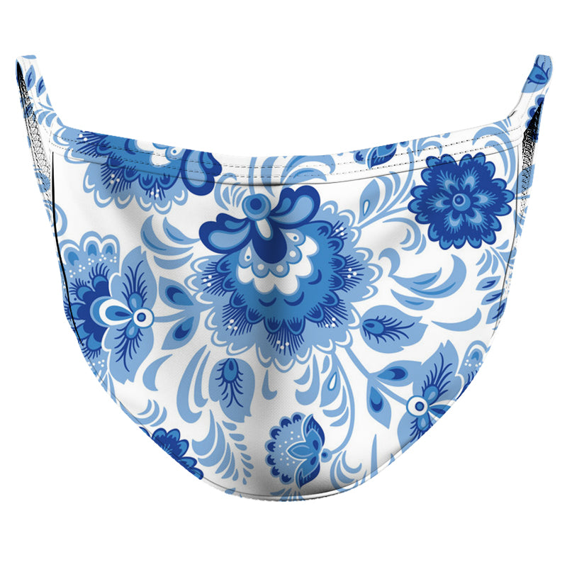 Blue & White Blossom Reusable Double Layer Cloth Face Mask and Covering