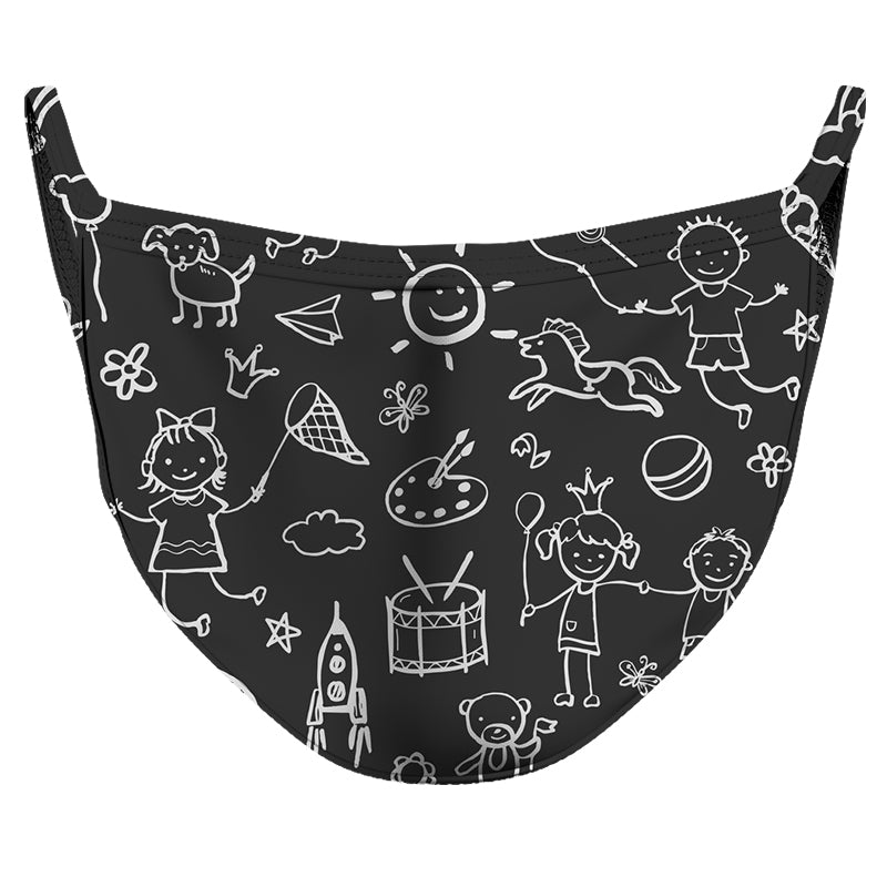 Chalk Doodles Reusable Double Layer Cloth Face Mask and Covering