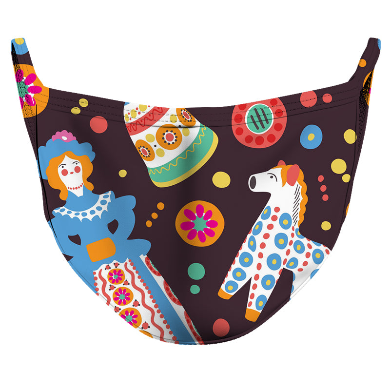Cute Bright Pattern Reusable Double Layer Cloth Face Mask and Covering