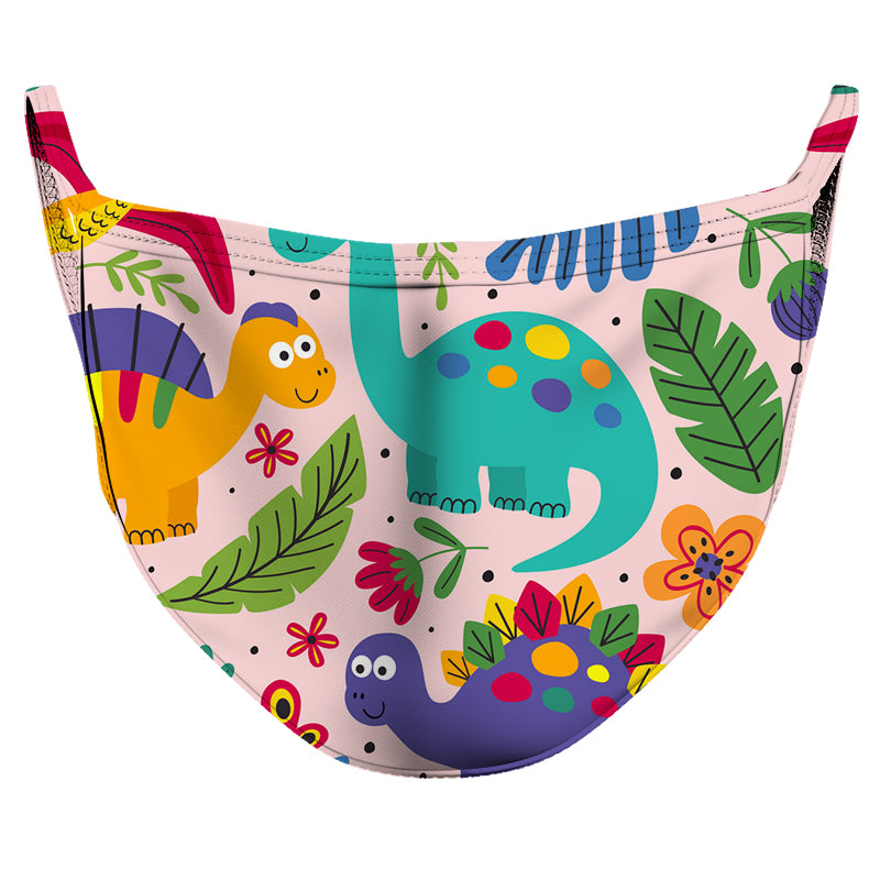 Cute Dinosaurs Reusable Double Layer Cloth Face Mask and Covering