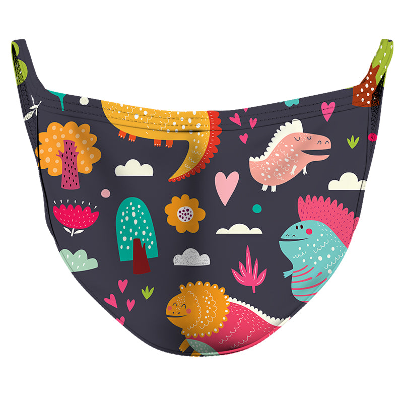 Dinosaur Playtime Reusable Double Layer Cloth Face Mask and Covering