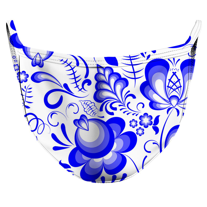Electric Blue Blossom Reusable Double Layer Cloth Face Mask and Covering
