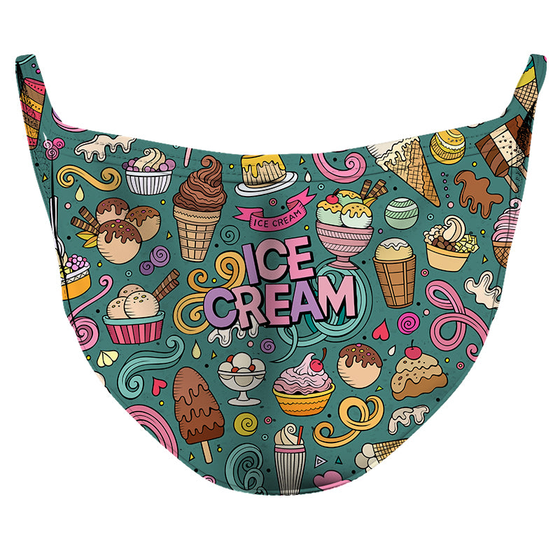 Ice Cream Frenzy Reusable Double Layer Cloth Face Mask and Covering