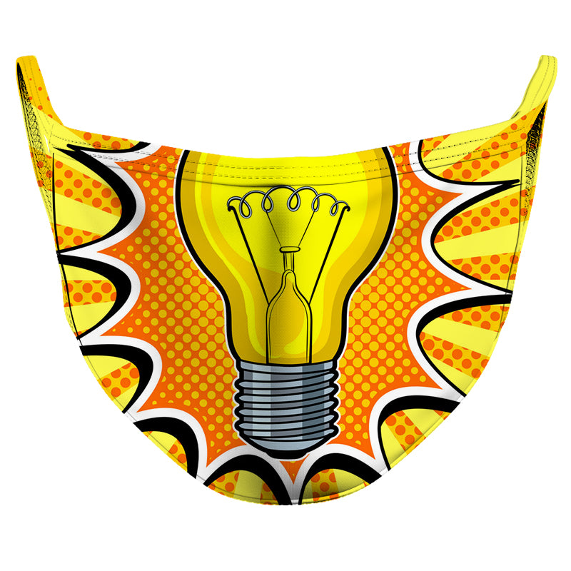 Idea Light Bulb Reusable Double Layer Cloth Face Mask and Covering
