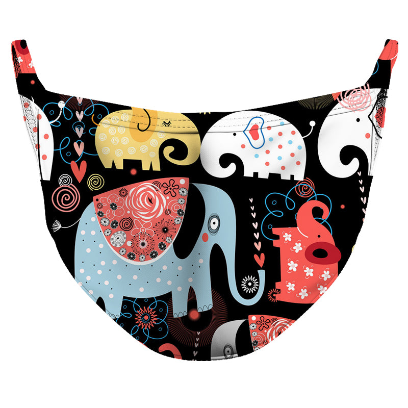 Loving Elephants 2 Reusable Double Layer Cloth Face Mask and Covering