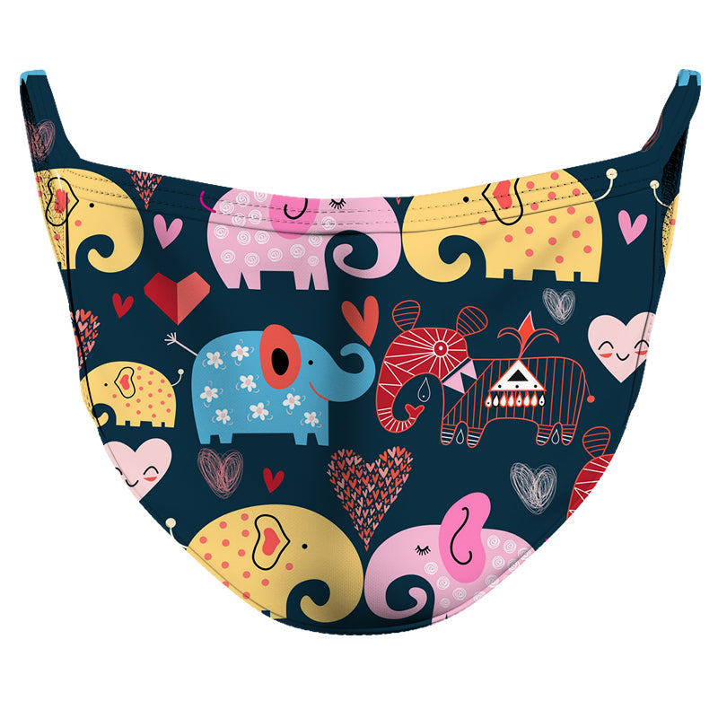 Loving Elephants Reusable Double Layer Cloth Face Mask and Covering