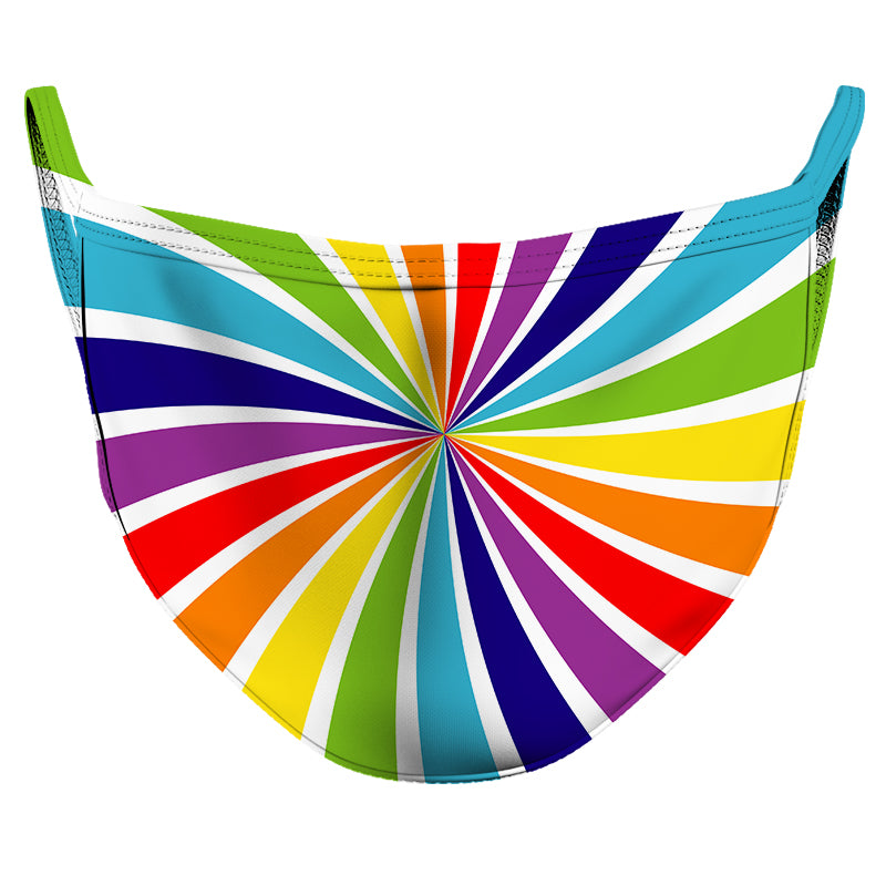 Rainbow Swirl Reusable Double Layer Cloth Face Mask and Covering
