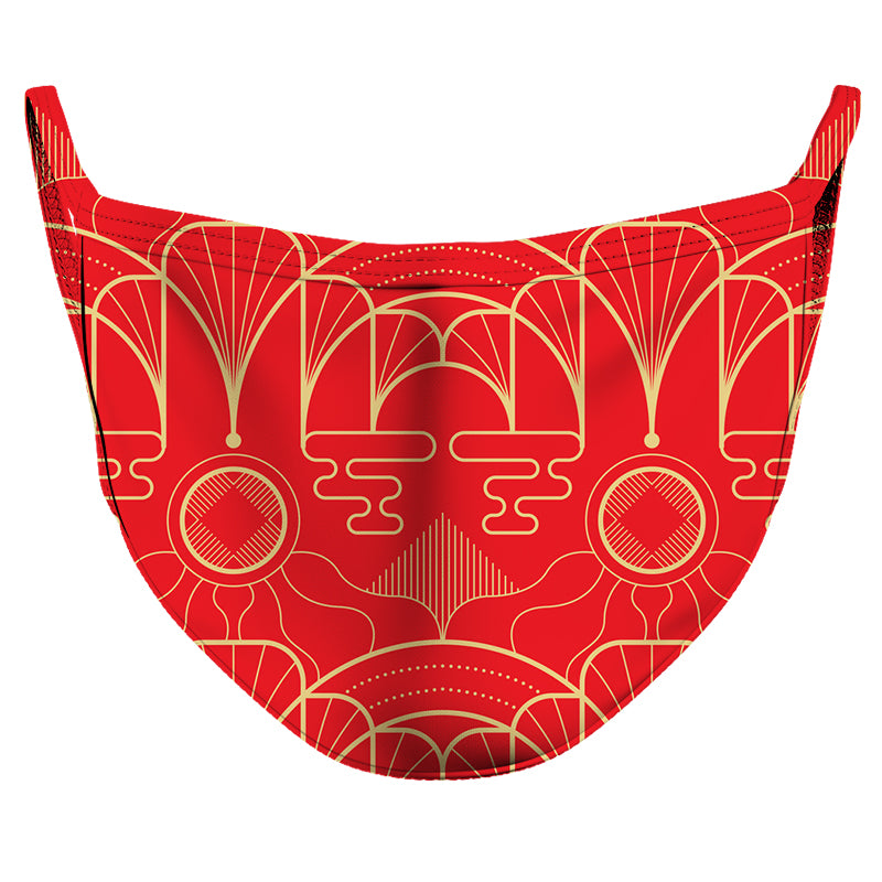 Red & Gold Panel 2 Reusable Double Layer Cloth Face Mask and Covering