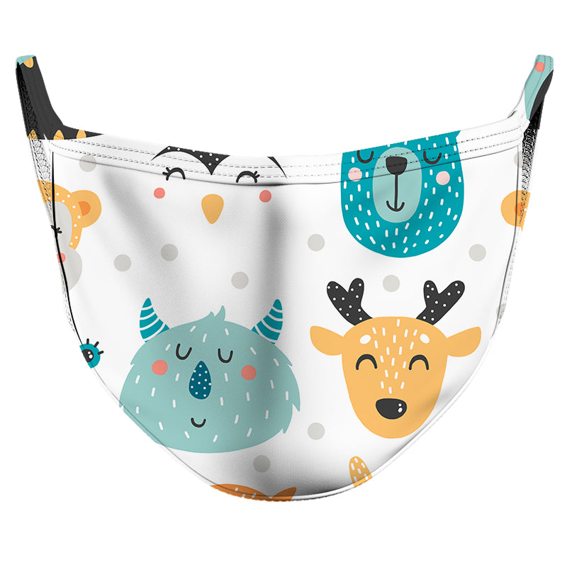 Smiling Animals Reusable Double Layer Cloth Face Mask and Covering