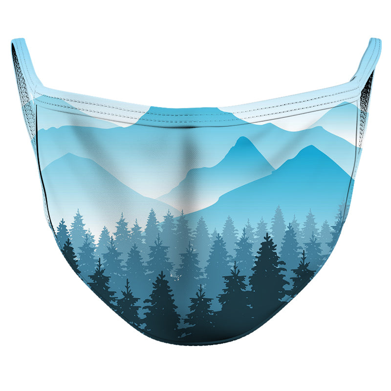 Watercolor Mountains Reusable Double Layer Cloth Face Mask and Covering
