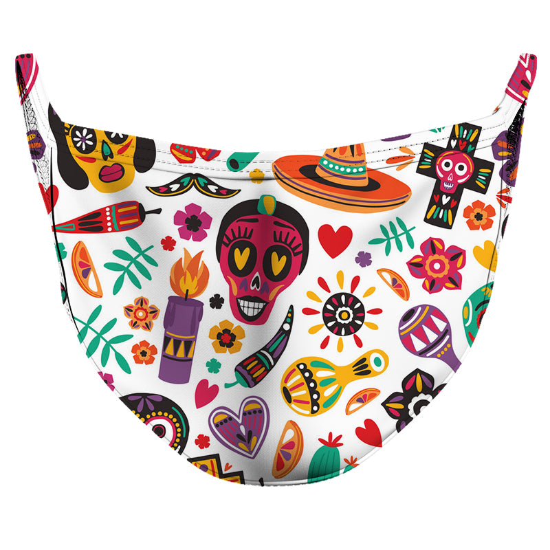 White Calaveritas Reusable Double Layer Cloth Face Mask and Covering