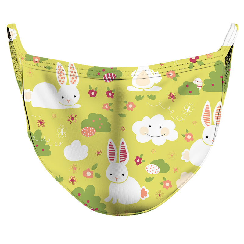 White Rabbits Green Grass Reusable Double Layer Cloth Face Mask and Covering