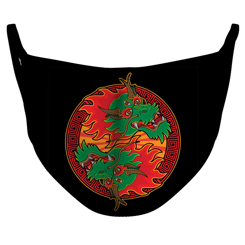 Ying Yang Dragons Reusable Double Layer Cloth Face Mask and Covering