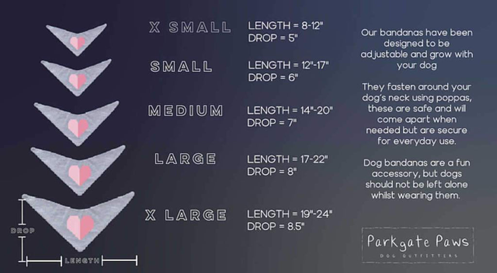Personalised Dog Bandana size guide