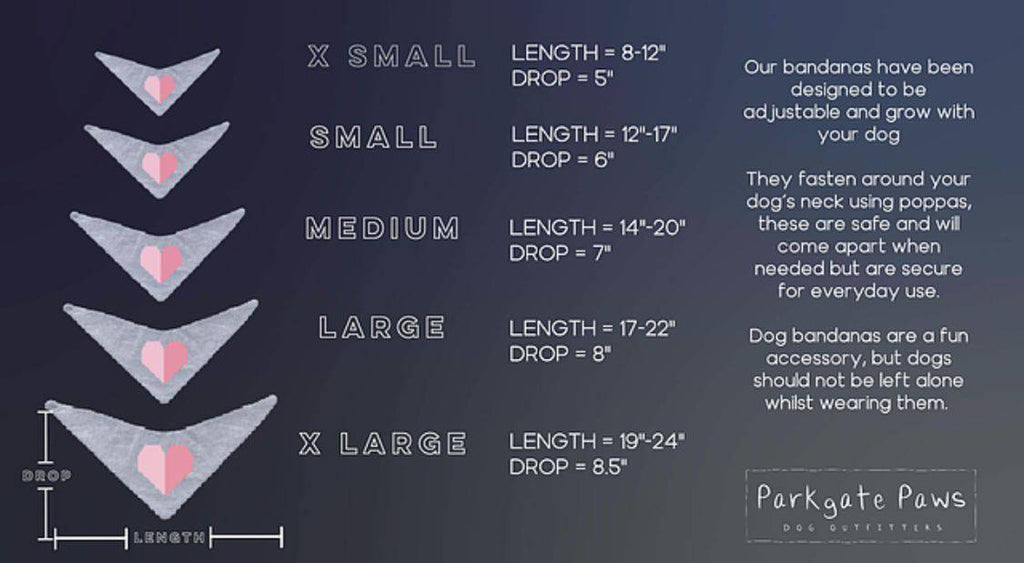 Personalise dog bandana  size guide