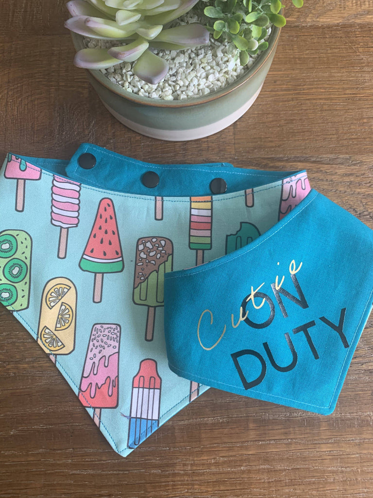 Teal Reversible dog bandana