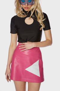 Minnie Skirt Paradise Pink Leather