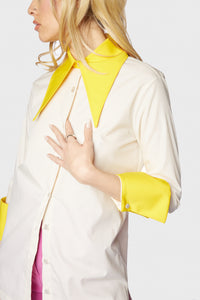 Annika Blouse Pearl + Canary Yellow