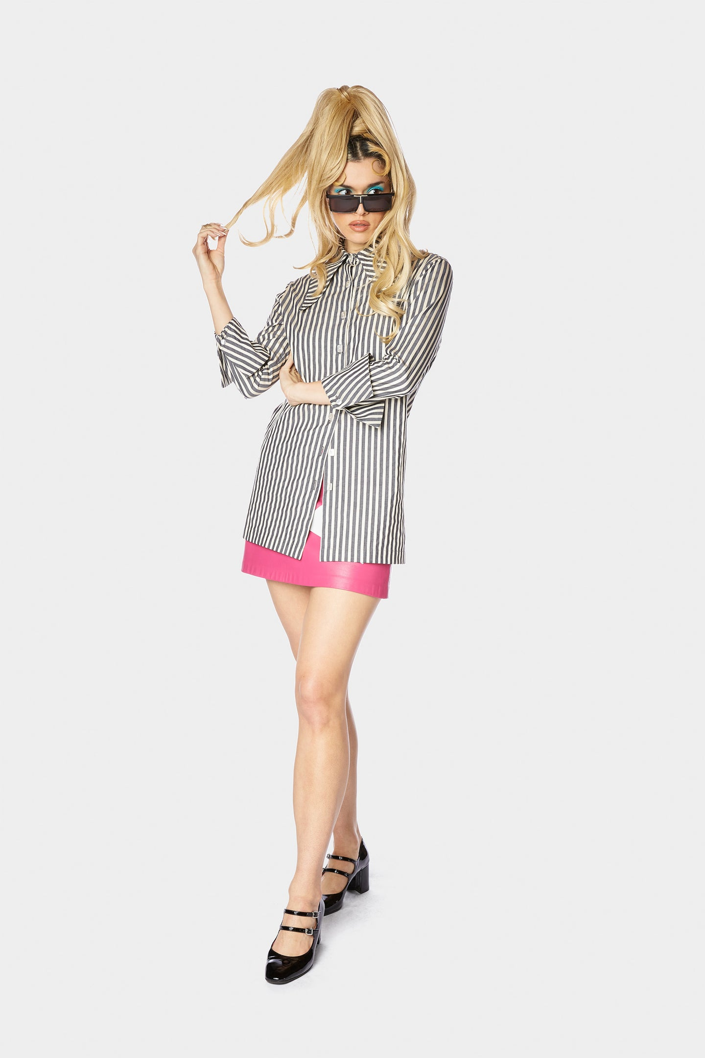 Annika Blouse Charcoal Stripe