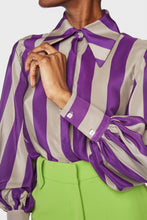 Load image into Gallery viewer, Florence Blouse Purple Charcoal Stripe