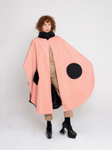 Rebecca Cape Coat Carnation Pink Jett Black