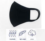 Black Unisex Cotton Face Covers, Washable Reusable Cloth - 20 Pcs-EZM004
