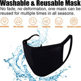 Black Unisex Cotton Face Cover, Washable Reusable Cloth-EZM002