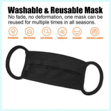 Black Unisex Cotton Face Mask, Washable Reusable Cloth - 20 Pcs-EZM013