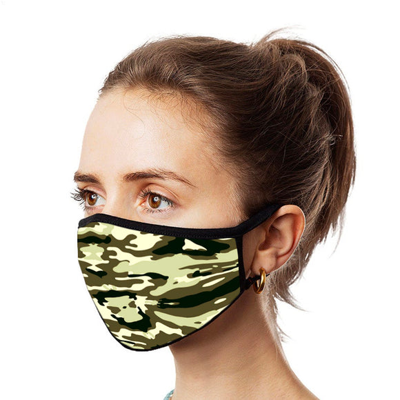 Camo Black Unisex Cotton Face Mask, Washable Reusable Cloth-EZM022