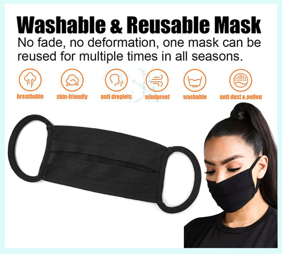Black Unisex Cotton Face Mask, Washable Reusable Cloth - EZM014