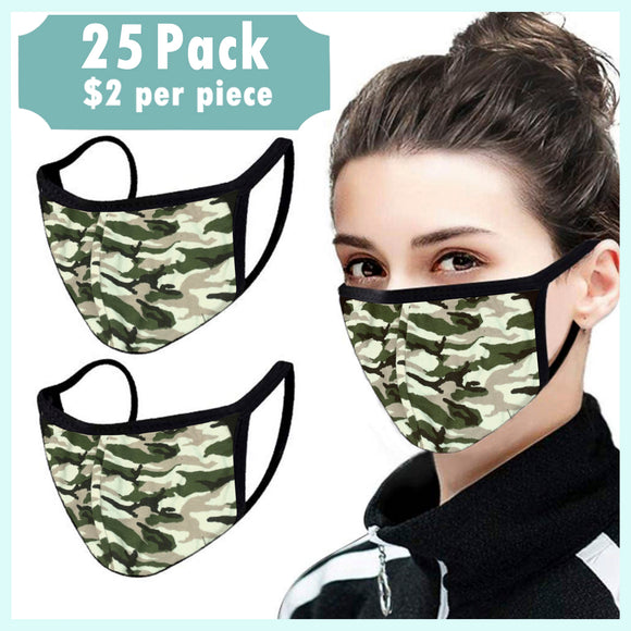 Camo Unisex Cotton Face Mask, Washable Reusable Cloth - 25 Pcs-EZM021