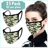 Camo Unisex Cotton Face Covers, Washable Reusable Cloth - 25 Pcs-EZM021