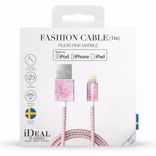 Lightning Ladekabel iDeal of Sweden pilion pink marble (1m)