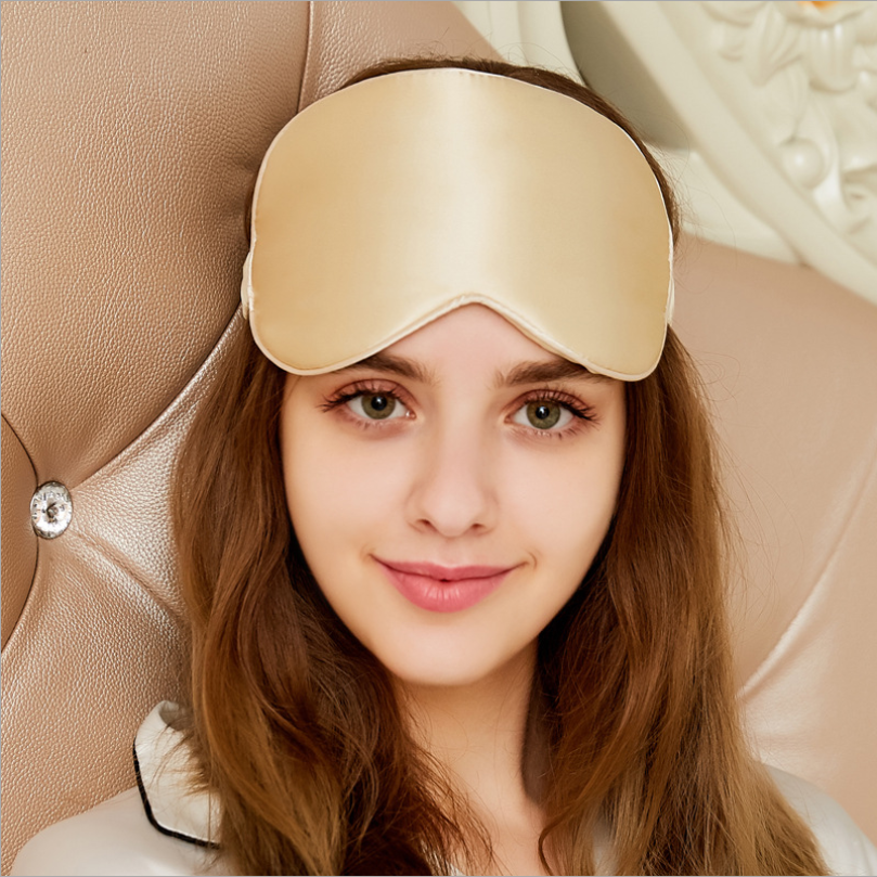 100% Pure Silk Double-Side Eye Mask Sleep Mask - Golden