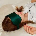 100% Pure Silk Double-Side Eye Mask Sleep Mask - Green