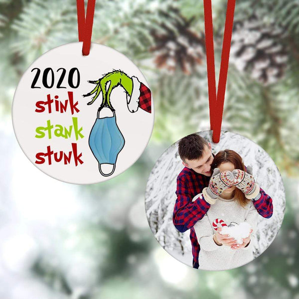 Custom Christmas Ornament Christmas Gifts 2 Sided -2020 Stink Stank Stunk Grinch Hand(8cm x 8cm)